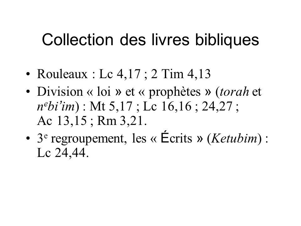 Collection des livres bibliques Rouleaux : Lc 4,17 ; 2 Tim 4,13 Division « loi » et « prophètes » (torah et n e bi im) : Mt 5,17 ; Lc 16,16 ; 24,27 ;