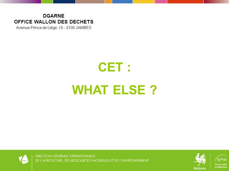 CET : WHAT ELSE DGARNE OFFICE WALLON DES DECHETS Avenue Prince de Liège, 15 - 5100 JAMBES