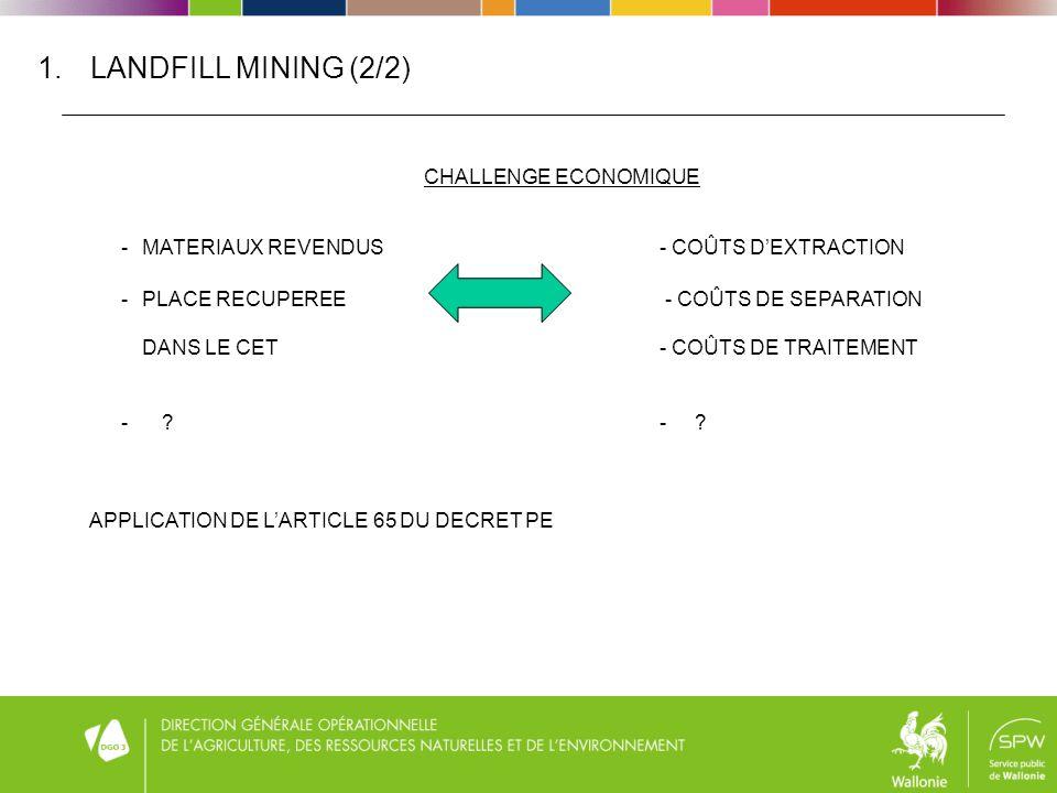 1.LANDFILL MINING (2/2) CHALLENGE ECONOMIQUE - MATERIAUX REVENDUS- COÛTS DEXTRACTION - PLACE RECUPEREE - COÛTS DE SEPARATION DANS LE CET- COÛTS DE TRAITEMENT - - .