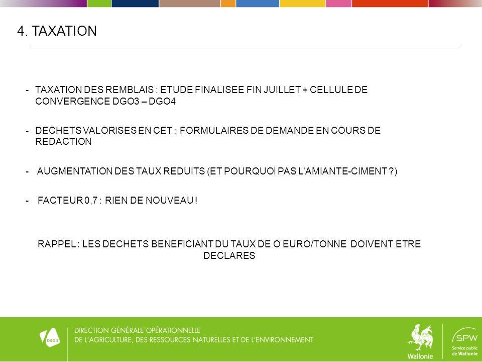 4. TAXATION -TAXATION DES REMBLAIS : ETUDE FINALISEE FIN JUILLET + CELLULE DE CONVERGENCE DGO3 – DGO4 -DECHETS VALORISES EN CET : FORMULAIRES DE DEMAN