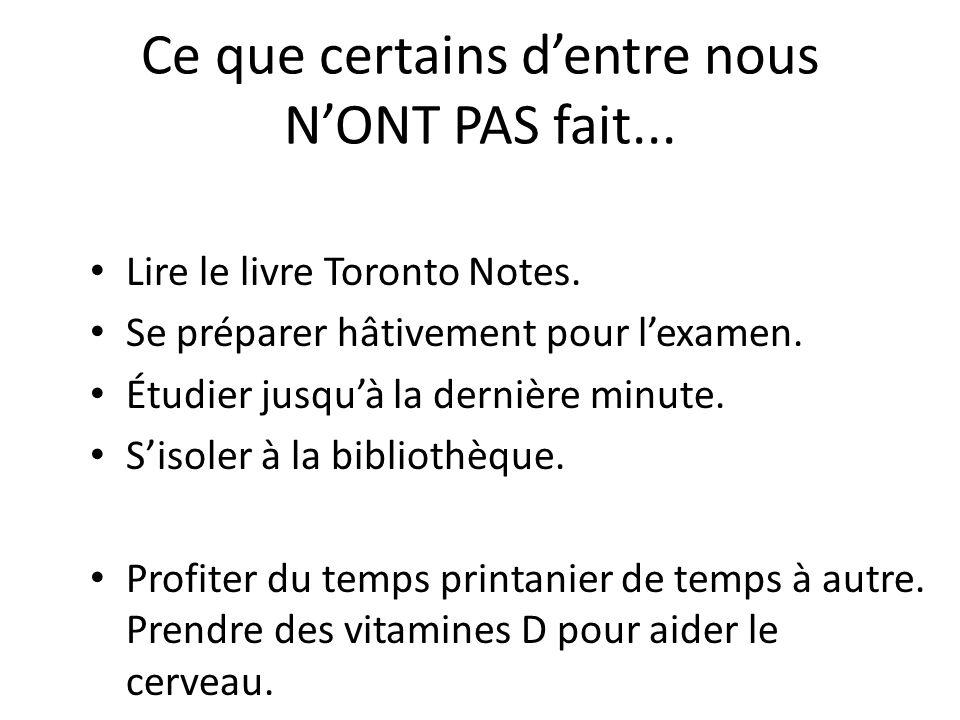 Ce que certains dentre nous NONT PAS fait... Lire le livre Toronto Notes. Se préparer hâtivement pour lexamen. Étudier jusquà la dernière minute. Siso