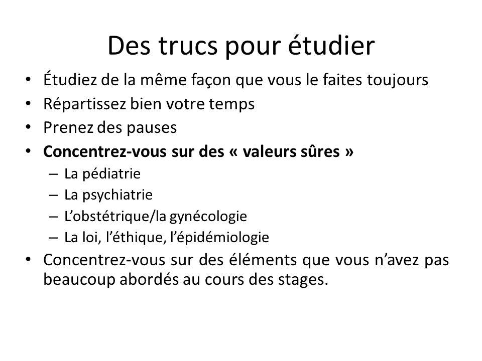 Ressources Conseil médical du Canada – http://www.mcc.ca/fr/exams/ee/MCCEE/index.htm http://www.mcc.ca/fr/exams/ee/MCCEE/index.htm – http://mcc.ca/fr/video/qei-cdm/qei-demo- cdm.htm http://mcc.ca/fr/video/qei-cdm/qei-demo- cdm.htm Les examens des années antérieures Le livre Essentials of the Canadian Licensing Exam Les dossiers de cas Les notes de revue de Retour aux principes essentiels et les examens des 1 re, 2 e et 3 e années