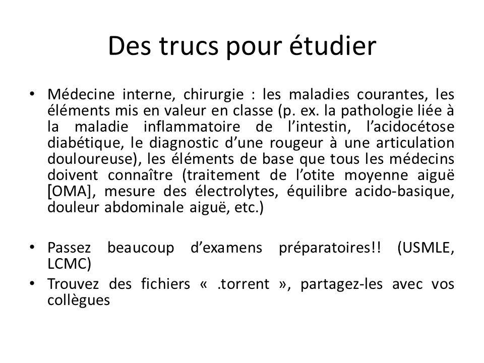 Des trucs pour étudier Médecine interne, chirurgie : les maladies courantes, les éléments mis en valeur en classe (p. ex. la pathologie liée à la mala