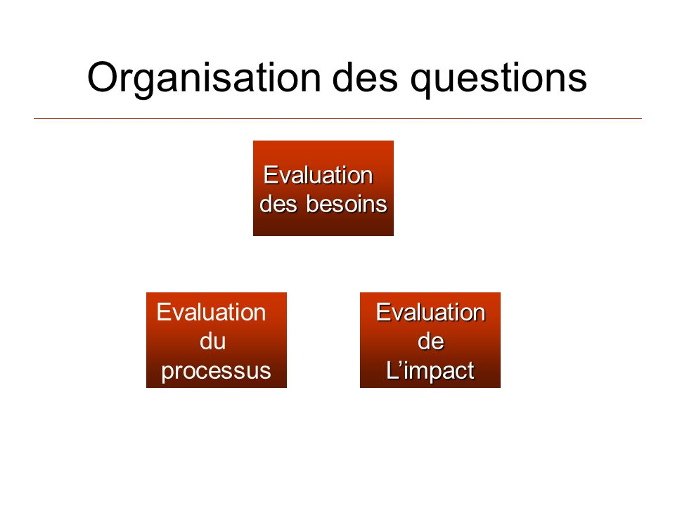 Organisation des questions Evaluation des besoins EvaluationdeLimpact Evaluation du processus