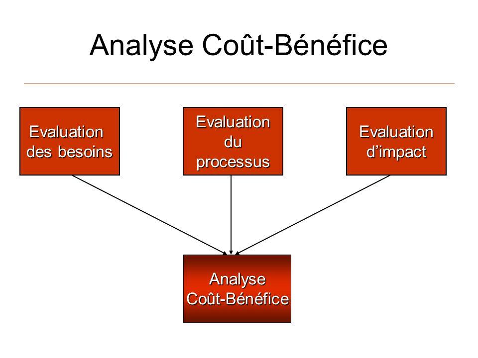 Analyse Coût-Bénéfice AnalyseCoût-Bénéfice EvaluationduprocessusEvaluationdimpactEvaluation des besoins
