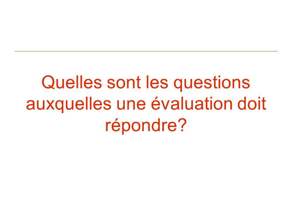 Quelles sont les questions auxquelles une évaluation doit répondre?