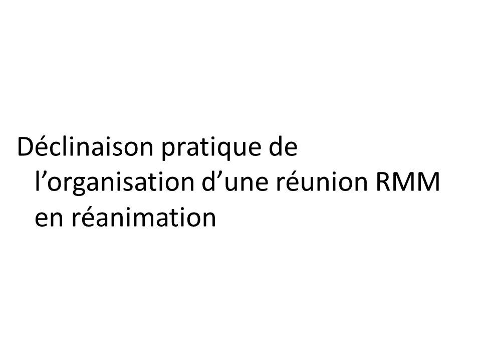 Déclinaison pratique de lorganisation dune réunion RMM en réanimation