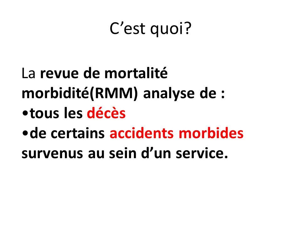 Cest quoi? La revue de mortalité morbidité(RMM) analyse de : tous les décès de certains accidents morbides survenus au sein dun service.