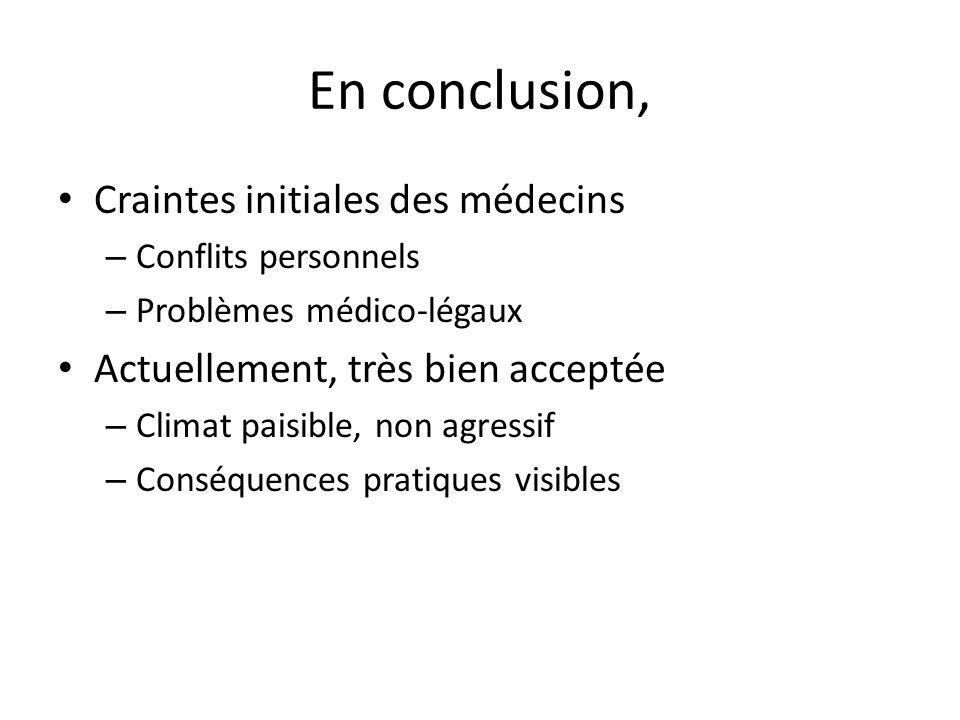En conclusion, Craintes initiales des médecins – Conflits personnels – Problèmes médico-légaux Actuellement, très bien acceptée – Climat paisible, non