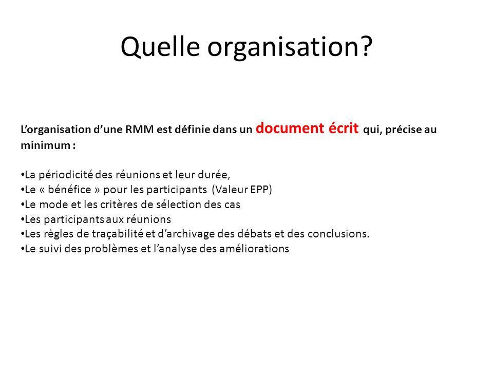 Quelle organisation? Lorganisation dune RMM est définie dans un document écrit qui, précise au minimum : La périodicité des réunions et leur durée, Le