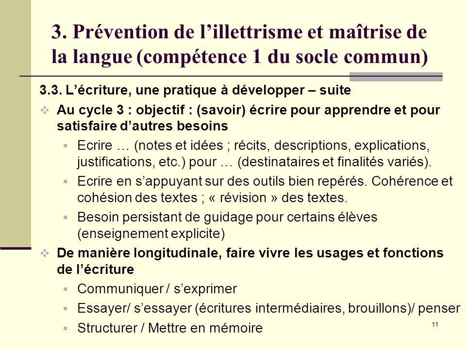 11 3. Prévention de lillettrisme et maîtrise de la langue (compétence 1 du socle commun) 3.3. Lécriture, une pratique à développer – suite Au cycle 3