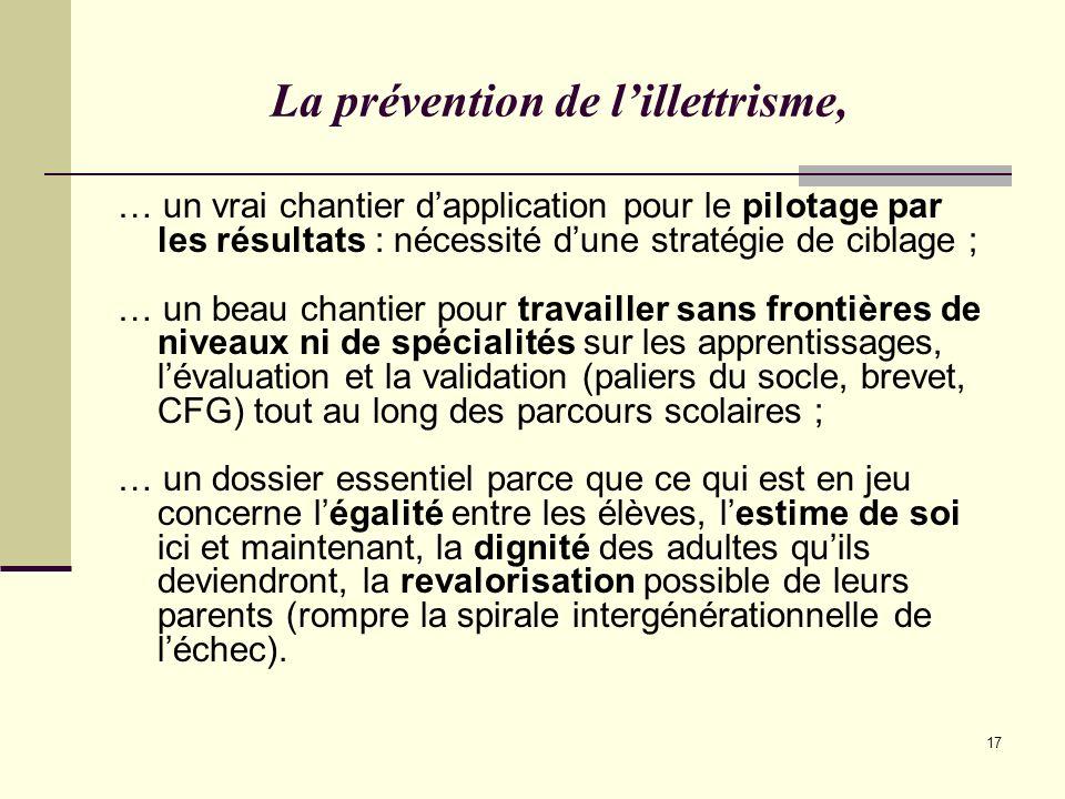 17 La prévention de lillettrisme, … un vrai chantier dapplication pour le pilotage par les résultats : nécessité dune stratégie de ciblage ; … un beau