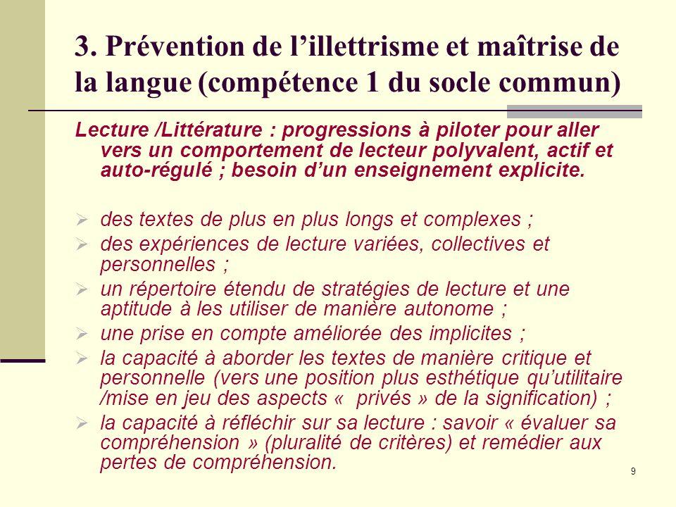 9 3. Prévention de lillettrisme et maîtrise de la langue (compétence 1 du socle commun) Lecture /Littérature : progressions à piloter pour aller vers