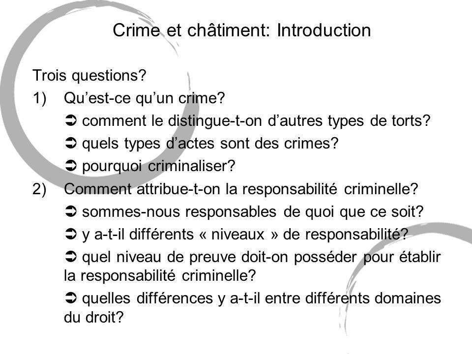 Crime et châtiment: Introduction Trois questions? 1)Quest-ce quun crime? comment le distingue-t-on dautres types de torts? quels types dactes sont des