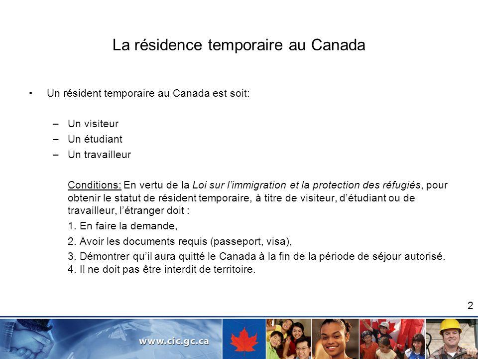 2 La résidence temporaire au Canada Un résident temporaire au Canada est soit: –Un visiteur –Un étudiant –Un travailleur Conditions: En vertu de la Lo