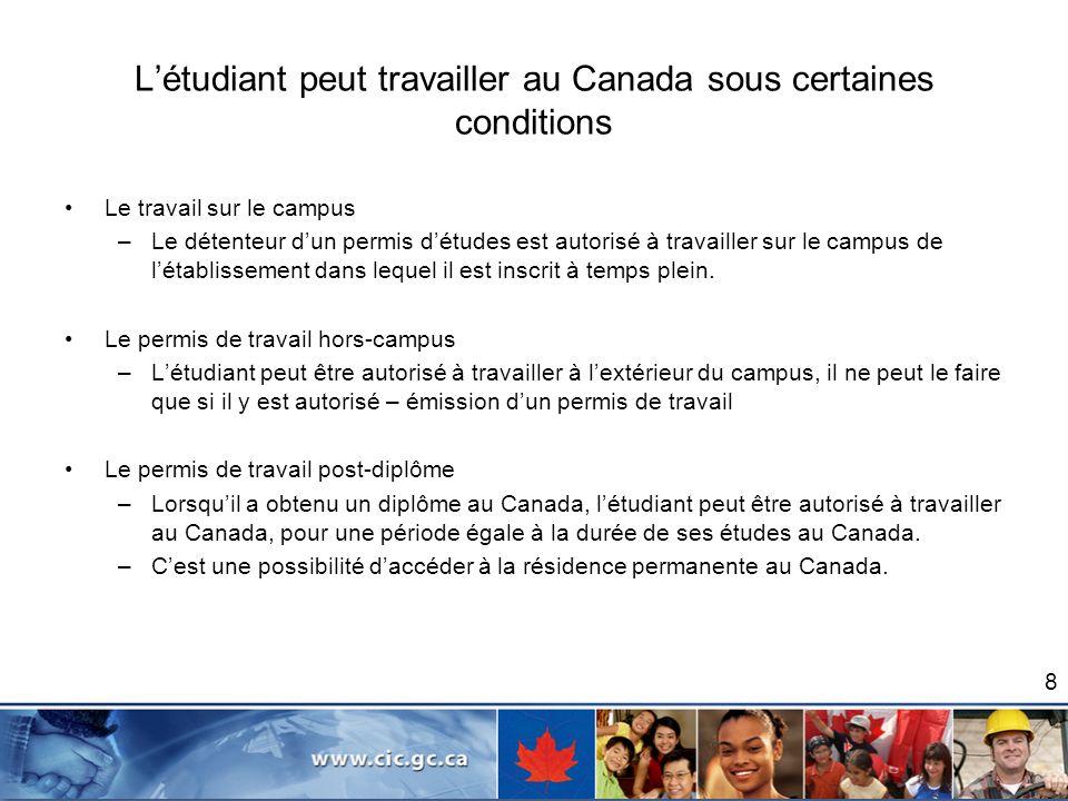 Létudiant peut travailler au Canada sous certaines conditions Le travail sur le campus –Le détenteur dun permis détudes est autorisé à travailler sur