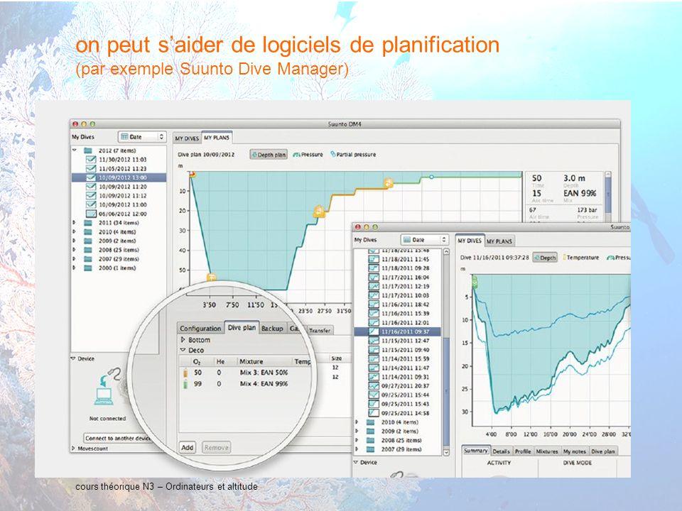 24 interne Orange cours théorique N3 – Ordinateurs et altitude on peut saider de logiciels de planification (par exemple Suunto Dive Manager)