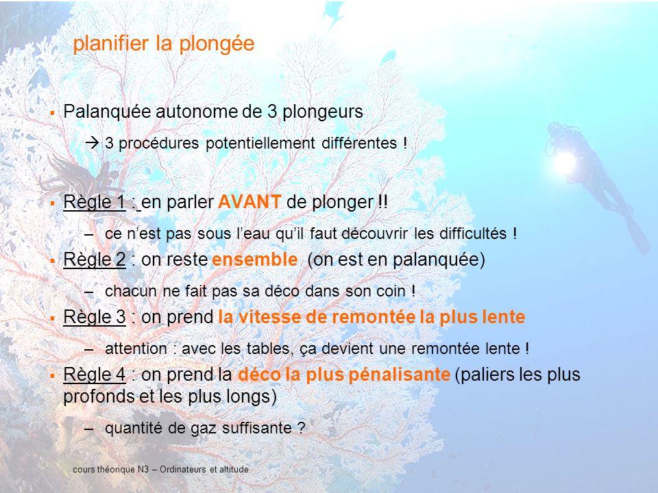 26 interne Orange cours théorique N3 – Ordinateurs et altitude planifier la plongée Palanquée autonome de 3 plongeurs 3 procédures potentiellement dif