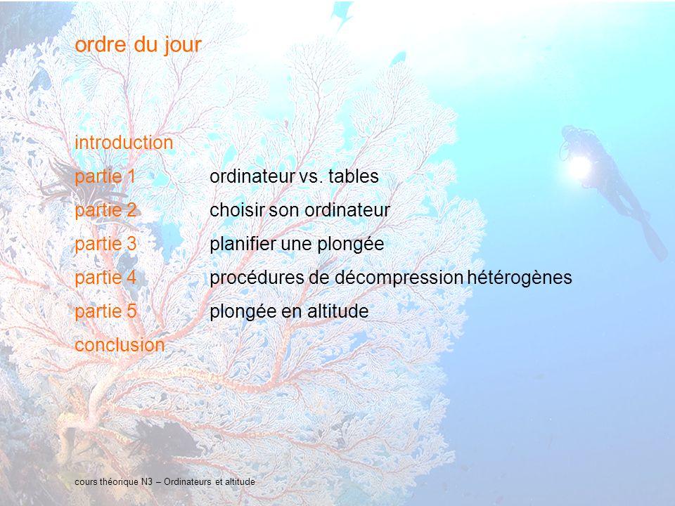 4 interne Orange cours théorique N3 – Ordinateurs et altitude Introduction : La gestion de la décompression