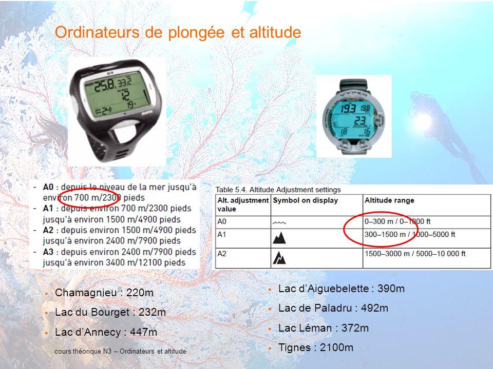 31 interne Orange cours théorique N3 – Ordinateurs et altitude Ordinateurs de plongée et altitude Lac dAiguebelette : 390m Lac de Paladru : 492m Lac L