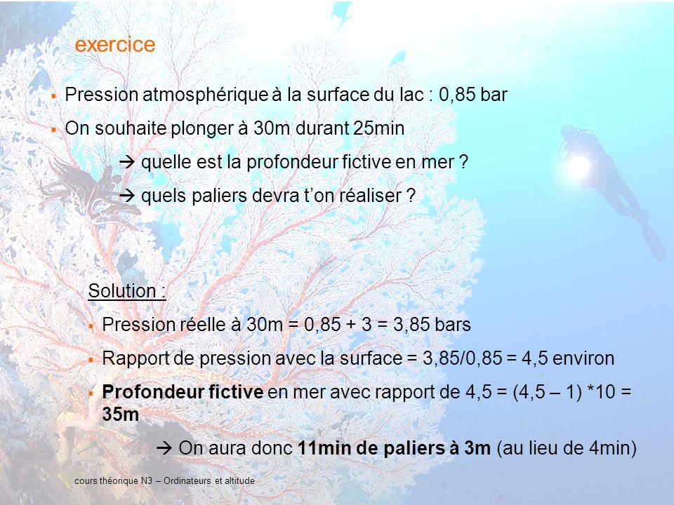 34 interne Orange cours théorique N3 – Ordinateurs et altitude exercice Pression atmosphérique à la surface du lac : 0,85 bar On souhaite plonger à 30