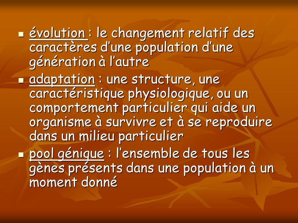 évolution : le changement relatif des caractères dune population dune génération à lautre évolution : le changement relatif des caractères dune popula