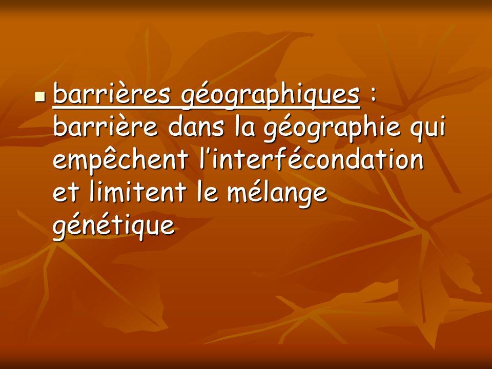 barrières géographiques : barrière dans la géographie qui empêchent linterfécondation et limitent le mélange génétique barrières géographiques : barri