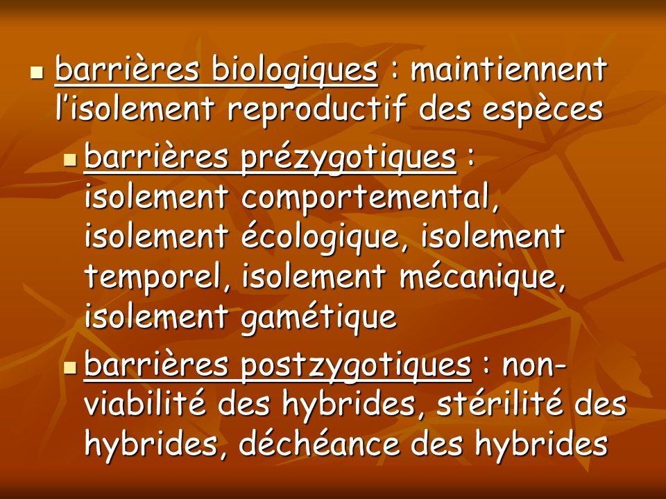barrières biologiques : maintiennent lisolement reproductif des espèces barrières biologiques : maintiennent lisolement reproductif des espèces barriè