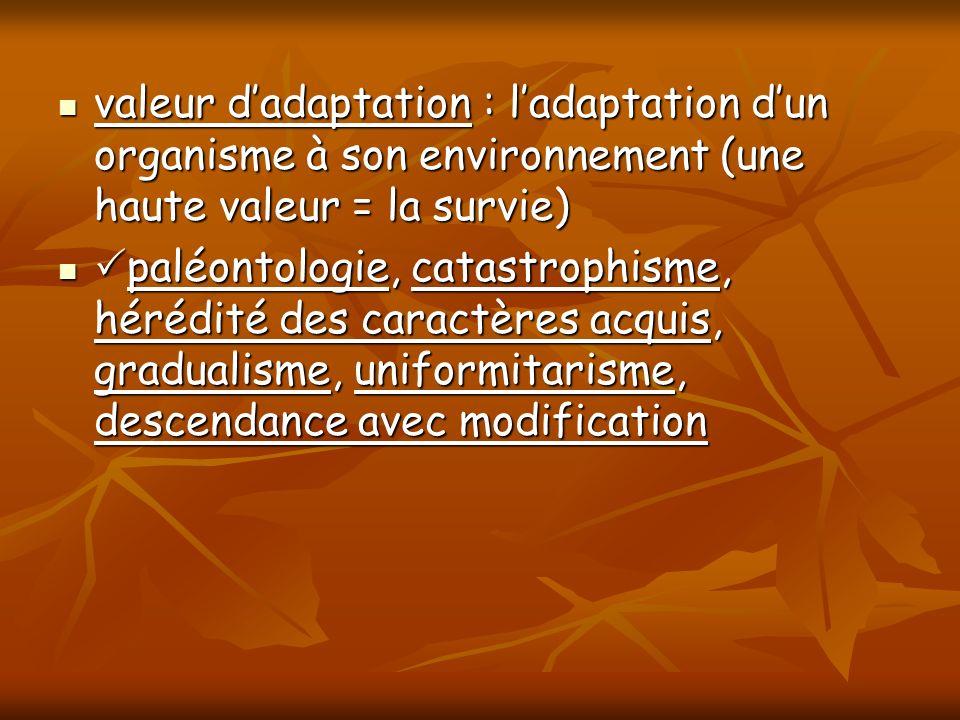 valeur dadaptation : ladaptation dun organisme à son environnement (une haute valeur = la survie) valeur dadaptation : ladaptation dun organisme à son