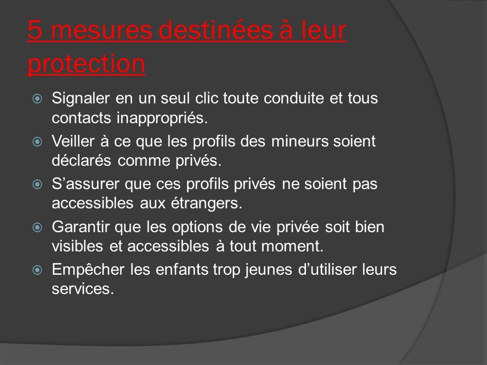 5 mesures destinées à leur protection Signaler en un seul clic toute conduite et tous contacts inappropriés.