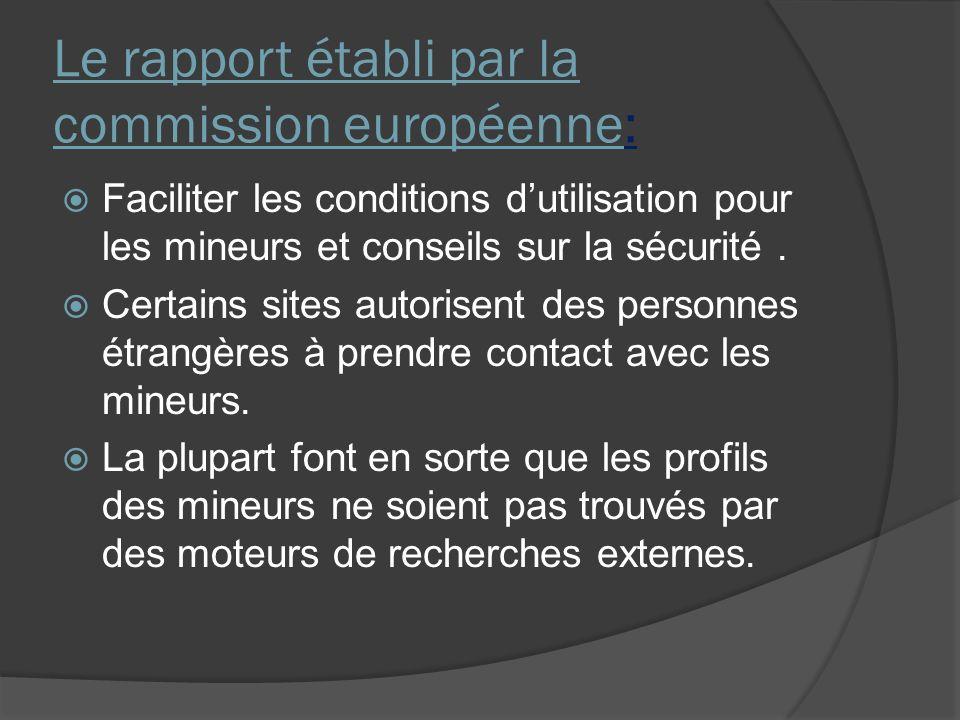 Le rapport établi par la commission européenne: Faciliter les conditions dutilisation pour les mineurs et conseils sur la sécurité.