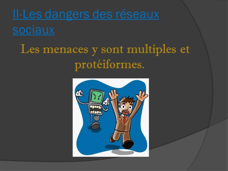 II-Les dangers des réseaux sociaux Les menaces y sont multiples et protéiformes.