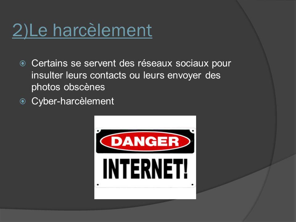 2)Le harcèlement Certains se servent des réseaux sociaux pour insulter leurs contacts ou leurs envoyer des photos obscènes Cyber-harcèlement