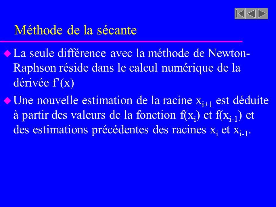 Méthode de la sécante u La seule différence avec la méthode de Newton- Raphson réside dans le calcul numérique de la dérivée f(x) u Une nouvelle estimation de la racine x i+1 est déduite à partir des valeurs de la fonction f(x i ) et f(x i-1 ) et des estimations précédentes des racines x i et x i-1.