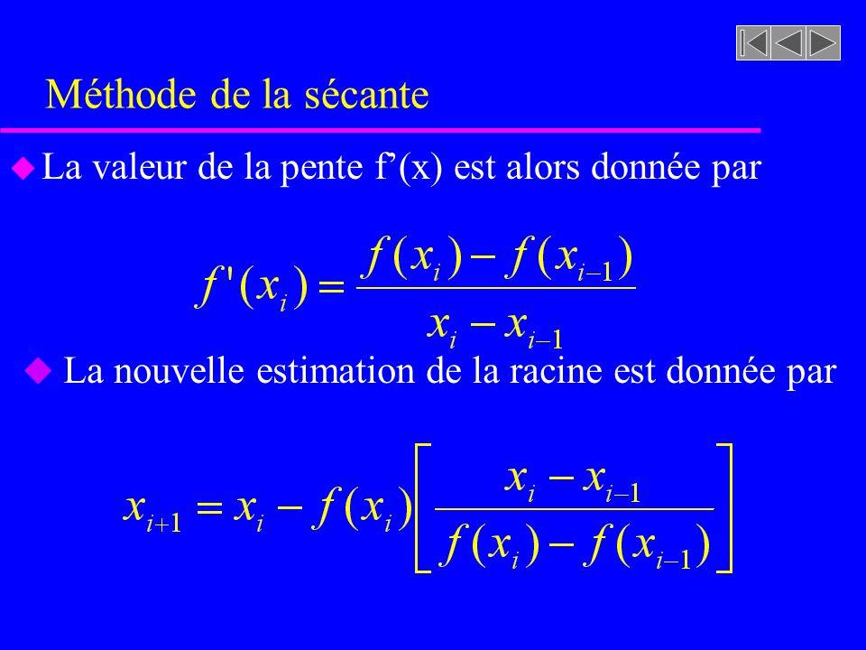 Méthode de la sécante u La valeur de la pente f(x) est alors donnée par u La nouvelle estimation de la racine est donnée par