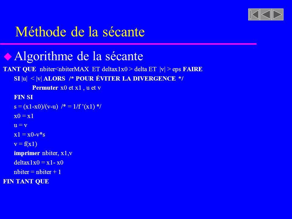 Méthode de la sécante u Algorithme de la sécante TANT QUE nbiter delta ET |v| > eps FAIRE SI |u| < |v| ALORS /* POUR ÉVITER LA DIVERGENCE */ Permuter x0 et x1, u et v FIN SI s = (x1-x0)/(v-u) /* = 1/f (x1) */ x0 = x1 u = v x1 = x0-v*s v = f(x1) imprimer nbiter, x1,v deltax1x0 = x1- x0 nbiter = nbiter + 1 FIN TANT QUE