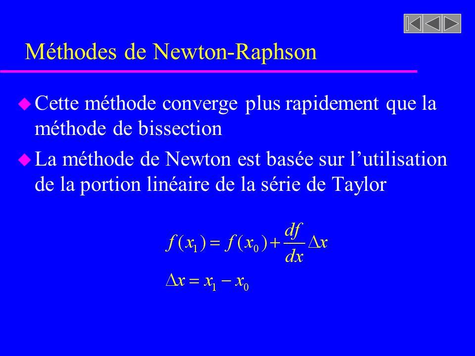 Méthodes de Newton-Raphson u Cette méthode converge plus rapidement que la méthode de bissection u La méthode de Newton est basée sur lutilisation de la portion linéaire de la série de Taylor