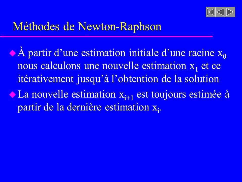 Méthodes de Newton-Raphson u À partir dune estimation initiale dune racine x 0 nous calculons une nouvelle estimation x 1 et ce itérativement jusquà lobtention de la solution u La nouvelle estimation x i+1 est toujours estimée à partir de la dernière estimation x i.