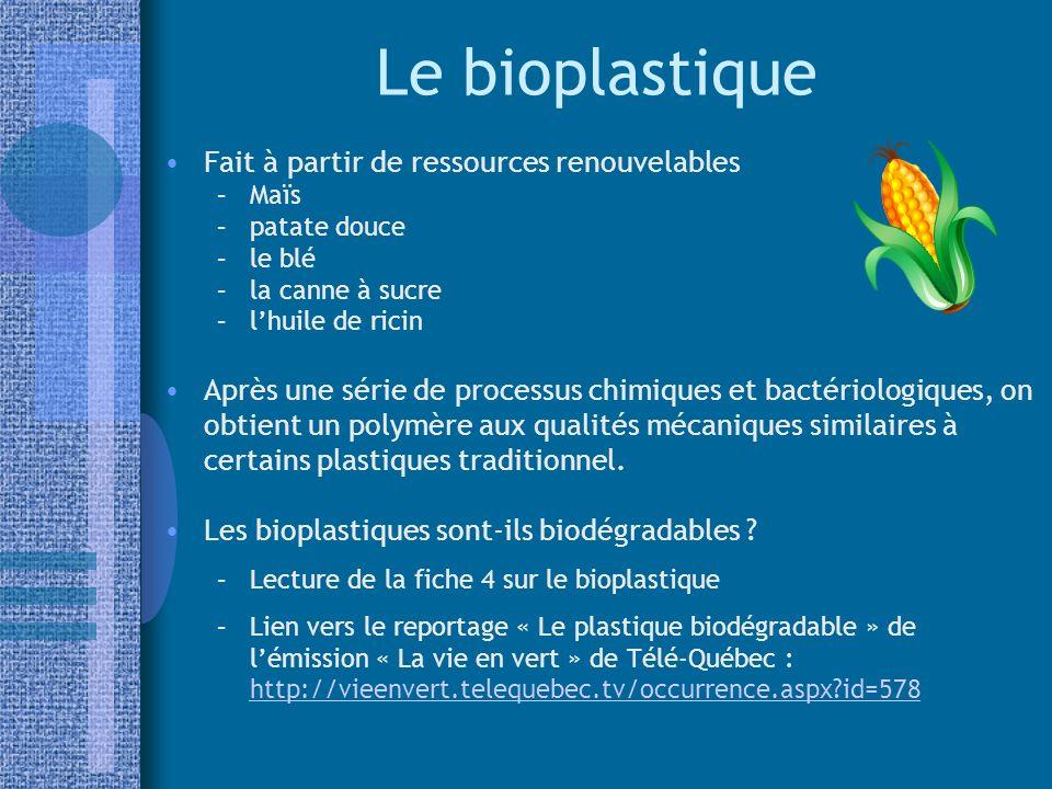 Le bioplastique Fait à partir de ressources renouvelables –Maïs –patate douce –le blé –la canne à sucre –lhuile de ricin Après une série de processus