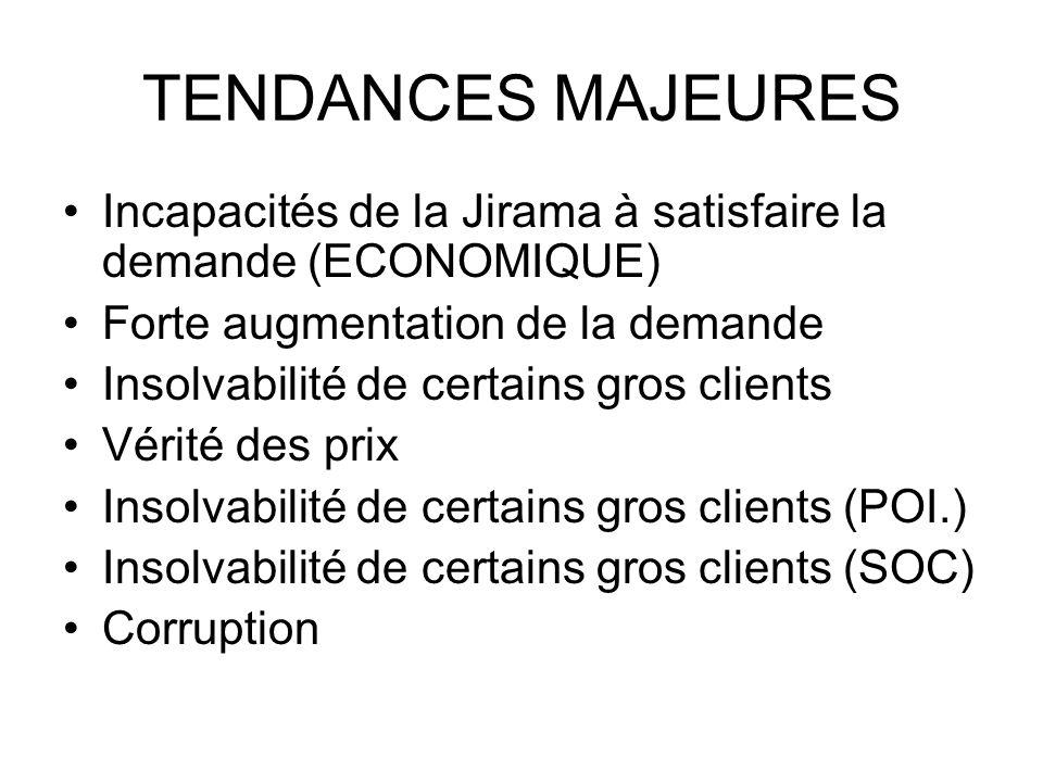 TENDANCES MAJEURES Incapacités de la Jirama à satisfaire la demande (ECONOMIQUE) Forte augmentation de la demande Insolvabilité de certains gros clients Vérité des prix Insolvabilité de certains gros clients (POI.) Insolvabilité de certains gros clients (SOC) Corruption