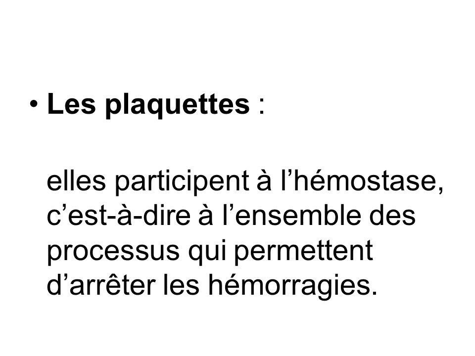 Les plaquettes : elles participent à lhémostase, cest-à-dire à lensemble des processus qui permettent darrêter les hémorragies.