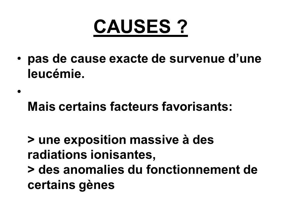 CAUSES .pas de cause exacte de survenue dune leucémie.