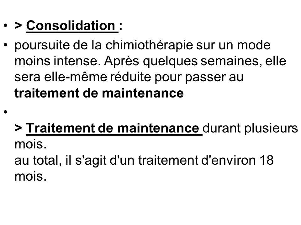 > Consolidation : poursuite de la chimiothérapie sur un mode moins intense.