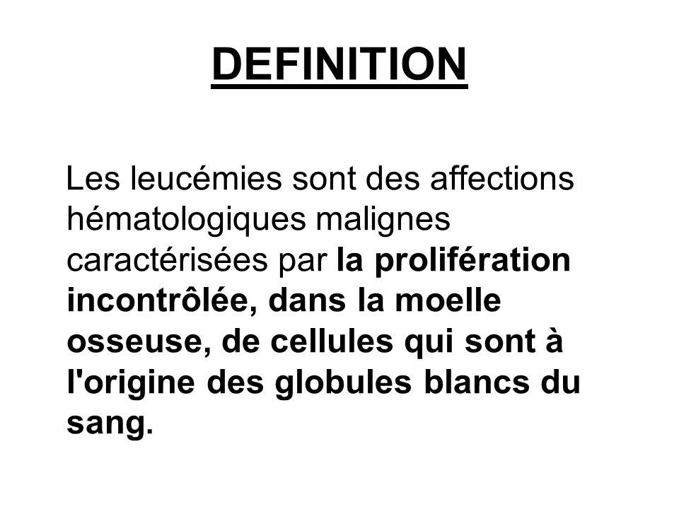DEFINITION Les leucémies sont des affections hématologiques malignes caractérisées par la prolifération incontrôlée, dans la moelle osseuse, de cellules qui sont à l origine des globules blancs du sang.