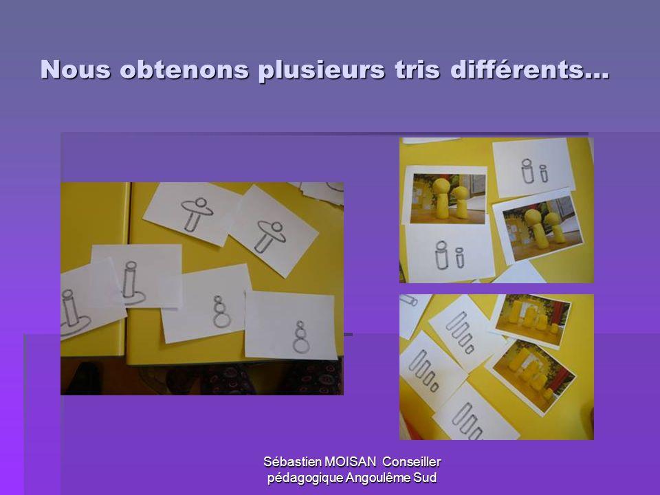 Sébastien MOISAN Conseiller pédagogique Angoulême Sud Nous obtenons plusieurs tris différents…