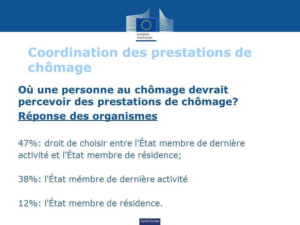 Social Europe Coordination des prestations de chômage Où une personne au chômage devrait percevoir des prestations de chômage? Réponse des organismes
