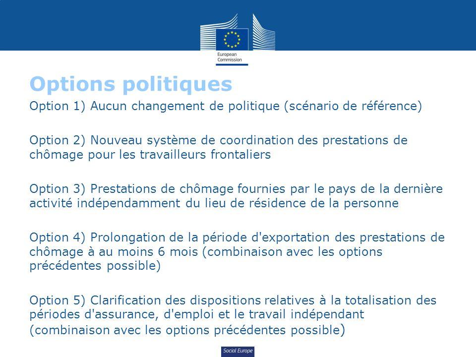 Social Europe Options politiques Option 1) Aucun changement de politique (scénario de référence) Option 2) Nouveau système de coordination des prestat