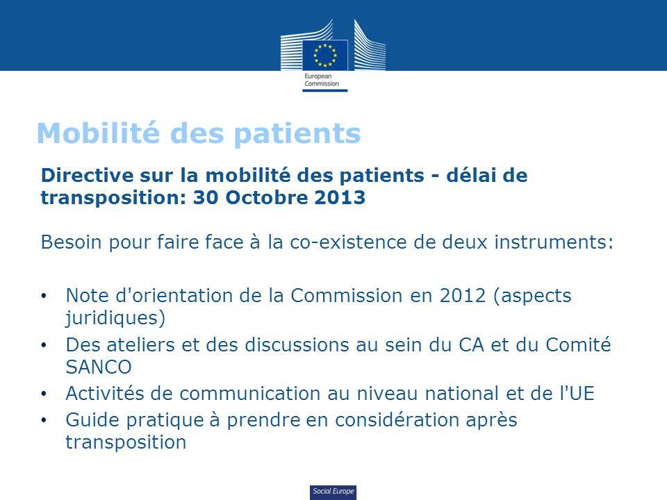 Social Europe Mobilité des patients Directive sur la mobilité des patients - délai de transposition: 30 Octobre 2013 Besoin pour faire face à la co-ex