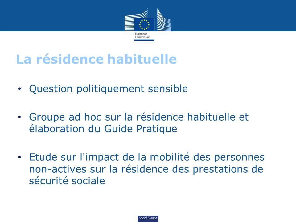 Social Europe La résidence habituelle Question politiquement sensible Groupe ad hoc sur la résidence habituelle et élaboration du Guide Pratique Etude