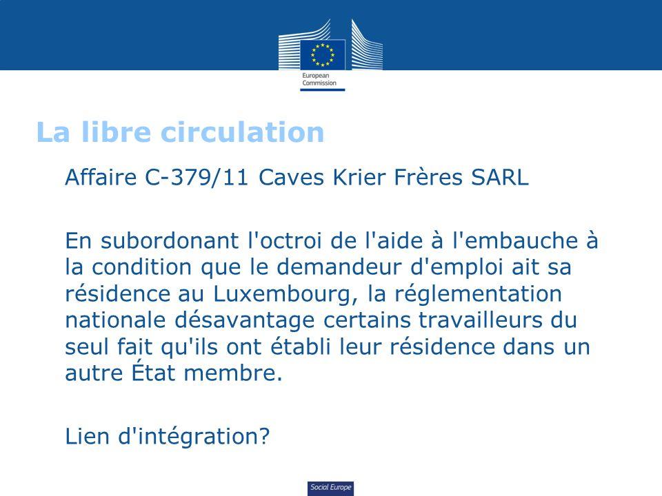 Social Europe La libre circulation Affaire C-379/11 Caves Krier Frères SARL En subordonant l'octroi de l'aide à l'embauche à la condition que le deman